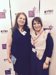 Diana Nammi (left), the founder of IKWRO with Abda Khan (right)